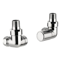 Chrome Radiator Valves Corner Pair Flat Front | E001