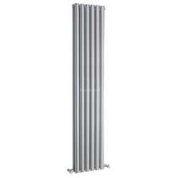 Revive Vertical Designer High Gloss Silver Double Panel Radiator | HLS87
