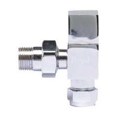 Hudson Reed Chrome Square Modern Radiator Valves - Angled | HT324