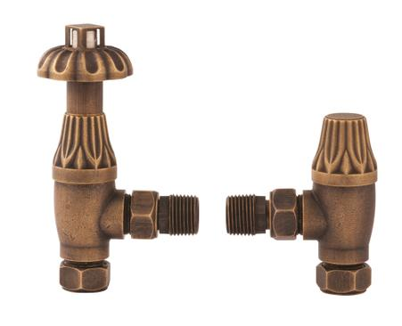 Hudson Reed Antique Brass Radiator Valves Angled | RV006